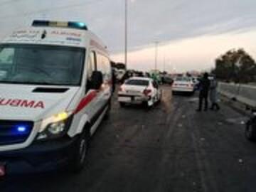 تصادف زنجیرهای وحشتناک ۳۰ خودرو در اتوبان کرج _ قزوین / فیلم