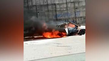 ویدیو هولناک از آتش گرفتن خودروی پراید در وسط خیابان