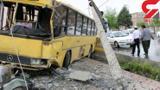 برخورد اتوبوس با تیر چراغ برق ده ها قربانی گرفت +عکس